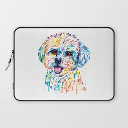 Bichon Frise Watercolor Painting by Lisa Whitehouse Laptop Sleeve