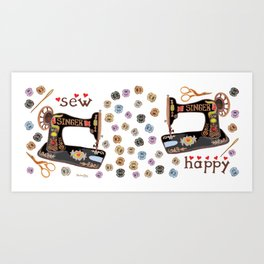 Sew Happy Vintage Singer Machine and Bobbins Art Print