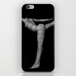 3729s-DEW Black and White Fine Art Nude Yoga Zebra Stripe Feminine Grace Power Balance iPhone Skin