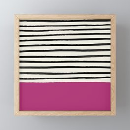 Raspberry x Stripes Framed Mini Art Print