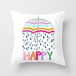 Striped Rainbow Umbrella - Happy Throw Pillow