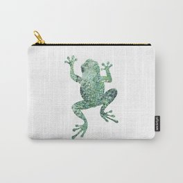 green lichen crawling frog silhouette Carry-All Pouch