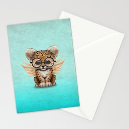 Cute Leopard Cub Fairy Wearing Glasses on Blue Stationery Cards