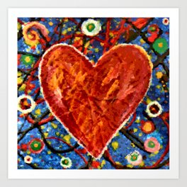 Abstract Painted Heart Art Print