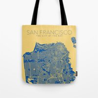 san francisco map Tote Bags featuring SAN FRANCISCO City Map by Samantha Jeet