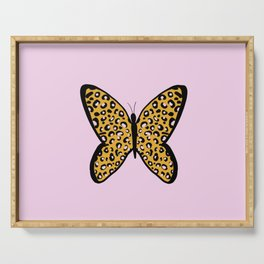 Pink Cheetah Leopard Print Butterfly Serving Tray