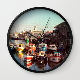 Boats resting in the Harbour Wall Clock