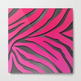 Pink & Gray Metallic Zebra Print Metal Print