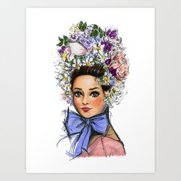Audrey with Flowers Art Print