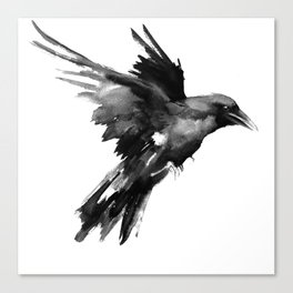 Flying Raven. tribal raven lover black and white raven decor Canvas Print