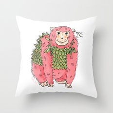 Peachtree The Chimp in Red Throw Pillow