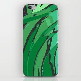 Dark Green Abstract Waves iPhone Skin