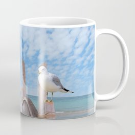 Dock on Beach with Seagulls A340 Coffee Mug