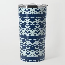Chevron Arrow Pattern Modern Blue Wavy Stripes Travel Mug