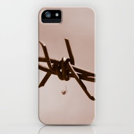 Spider on Barbed Wire iPhone Case