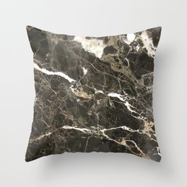 Dark Brown Marble With White Veins Throw Pillow