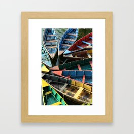Boats in Fewa Tal Framed Art Print