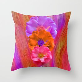 Faux Fur and Flowers Throw Pillow