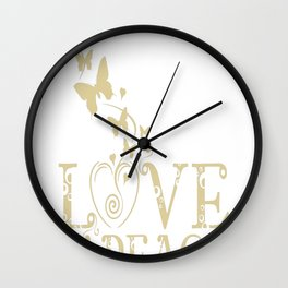 Love, Peace and Yoga Wall Clock