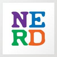 nerd Art Prints featuring Nerd by Jenna Allensworth
