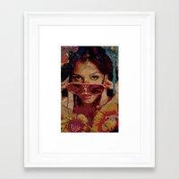 bianca green Framed Art Prints featuring Bianca by Yuri Torres Bertazolli