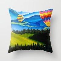 hot air balloons Throw Pillows featuring Acrylic Hot Air Balloons by Megan White
