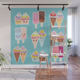 Kawaii cupcakes, ice cream in waffle cones, ice lolly Wall Mural