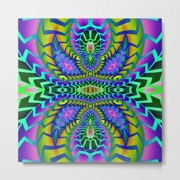 Tribal Rainbow Lotus Metal Print