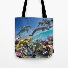 Coral Reef and Dolphins Tote Bag