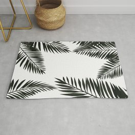 Black Watercolor Tropical Leaves Rug