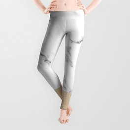 White Marble with Black and Copper Bronze Leggings