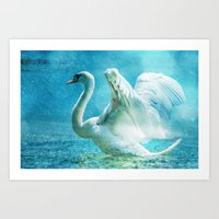 swan Art Prints featuring Swan by WonderfulDreamPicture