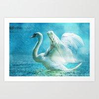 black swan Art Prints featuring Swan by WonderfulDreamPicture