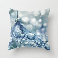 mandie manzano Throw Pillows featuring Sparkling Dandy in Blue by Sharon Johnstone