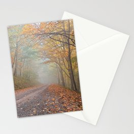 Misty Autumn Forest Road Stationery Cards