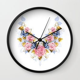 Pattern of Pink Roses Wall Clock