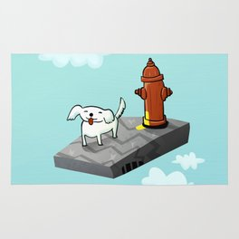 Dog in the sky peeing - Illustration Rug
