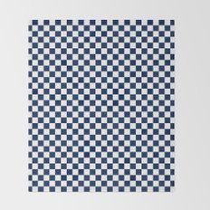 Checkered Blue and White Throw Blanket