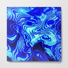 Where Lost Socks Go: Blue Swirled Abstract Metal Print