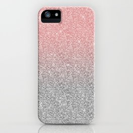 Girly Rose Gold & Silver Ombre Glitter Design iPhone Case