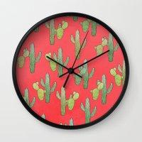 cacti Wall Clocks featuring Cacti by Megan Dignan