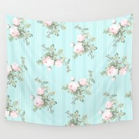 shabby chic Wall Tapestries featuring Shabby chic roses pink and mint by Mercedes