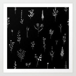 Black wildflowes Big Art Print