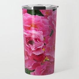 CLUSTERED PINK ROSES YELLOW-GREY ART Travel Mug