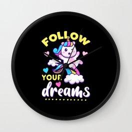 FOLLOW YOUR DREAMS (Dark Version) Wall Clock