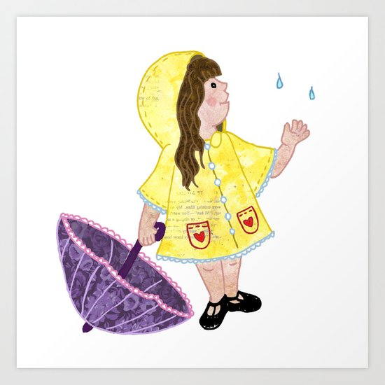 Little Miss Rainy Day Art Print