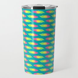 Tropical Green Feather Striped Surface Pattern Design Travel Mug