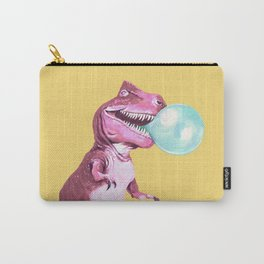 Bubble Gum Pink T-rex in Yellow Carry-All Pouch