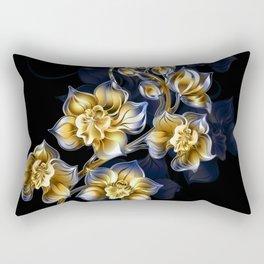 Gold and Blue orchids Rectangular Pillow