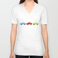 cars V-neck T-shirts featuring cars by laura mendoza v.